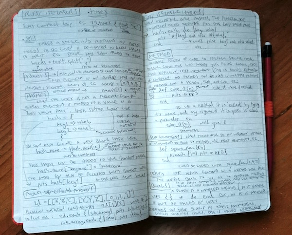 A notebook full of barely legible writing