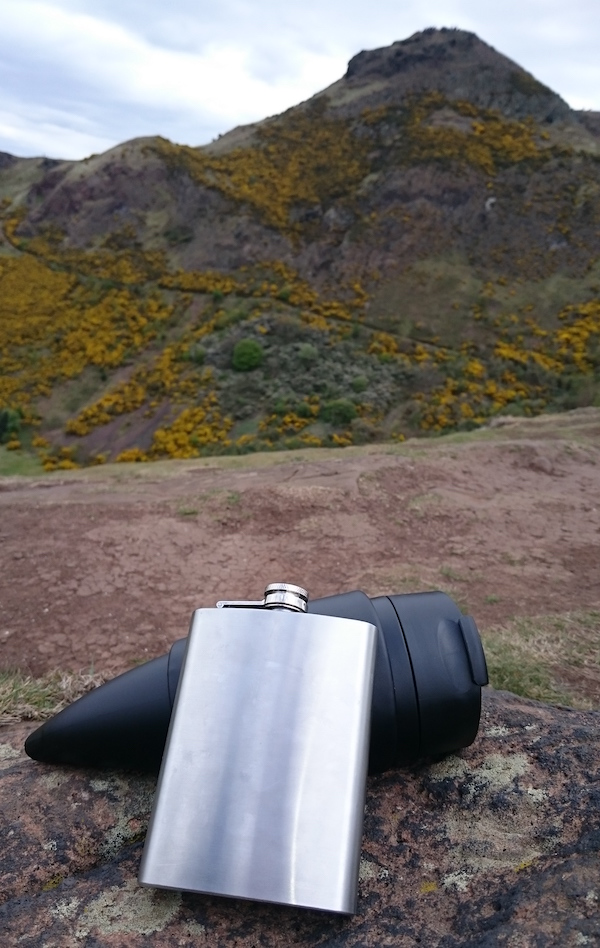 A hip flask and coffee horn